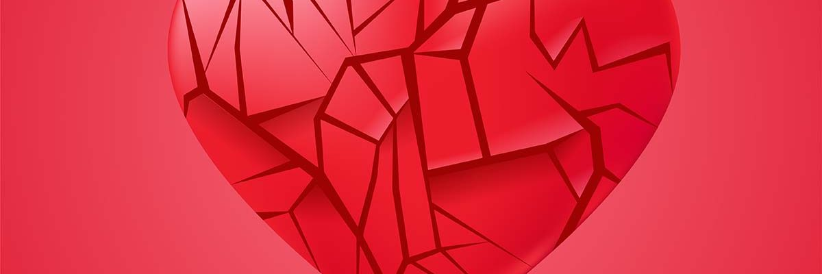 Broken heart sealed isolated. Red glass shards. Vector realistic